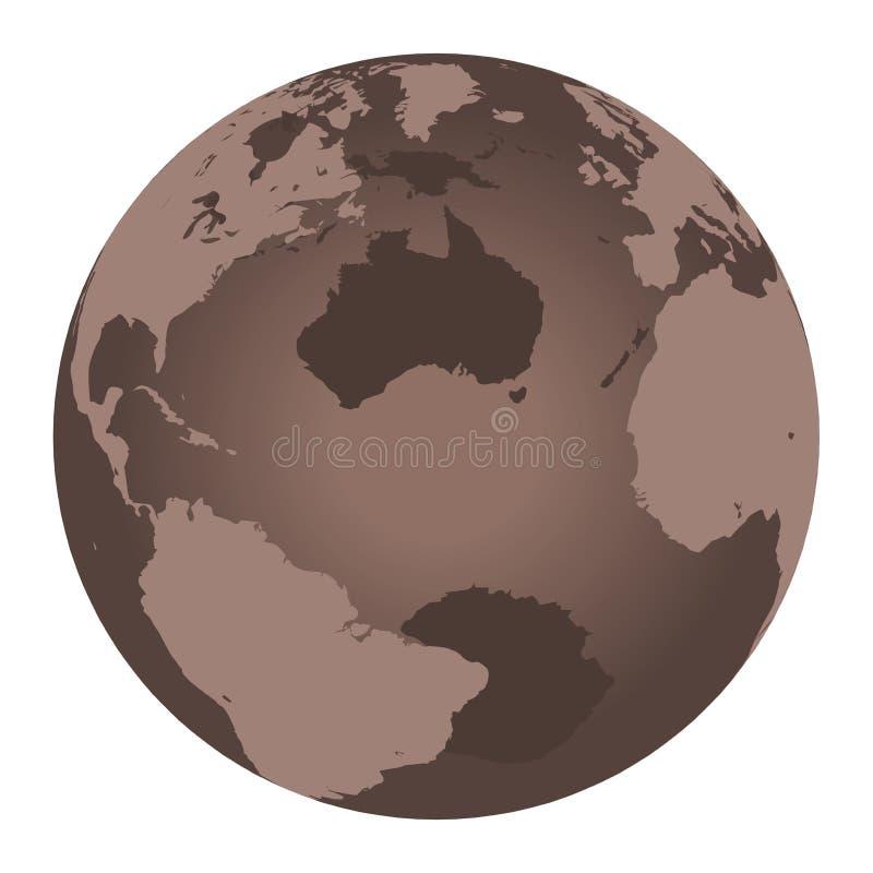 коричневый мир глобуса иллюстрация вектора