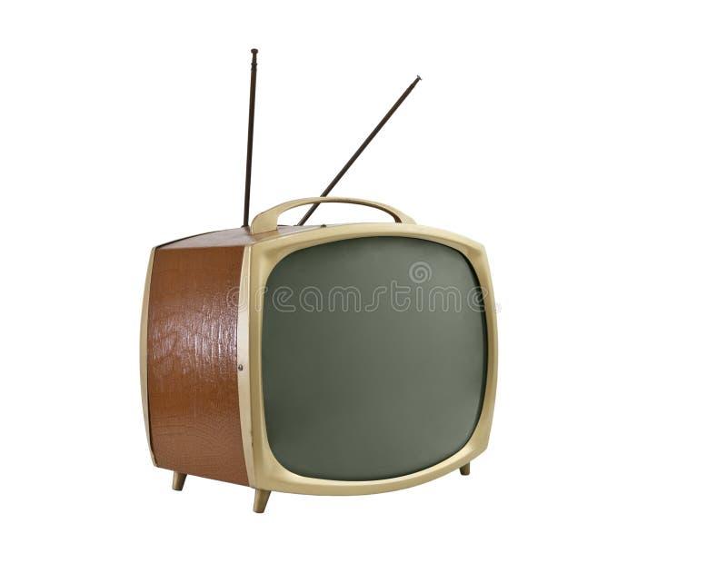 коричневый старый портативный бортовой винил телевидения стоковое фото