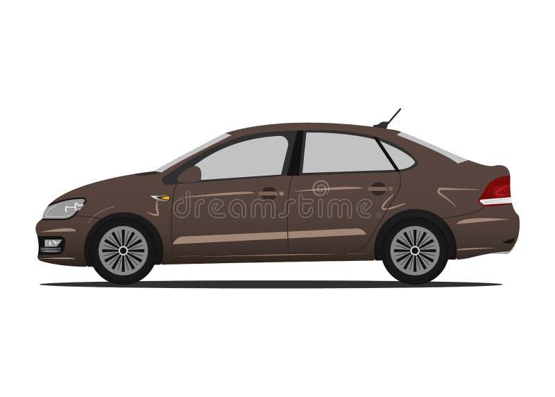 Коричневый цвет автомобиля вектора Детальная модель автомобиля на белой предпосылке иллюстрация вектора