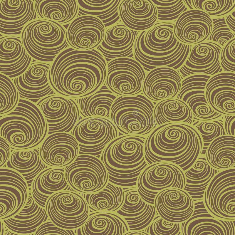 Коричневый цвет вектора и зеленая картина повторения спиралей свирлей Улучшите для ткани, scrapbooking, проекты обоев бесплатная иллюстрация