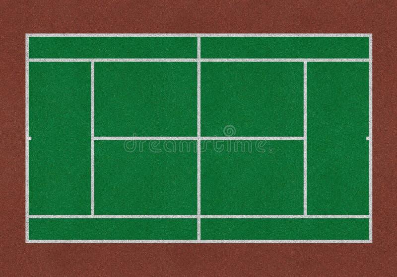 Коричневый цвет зеленого цвета поля тенниса иллюстрация штока