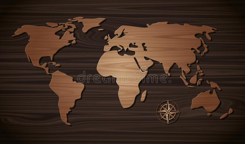 Коричневый цвет карты мира деревянный на коричневом цвете стены деревянном темном иллюстрация вектора
