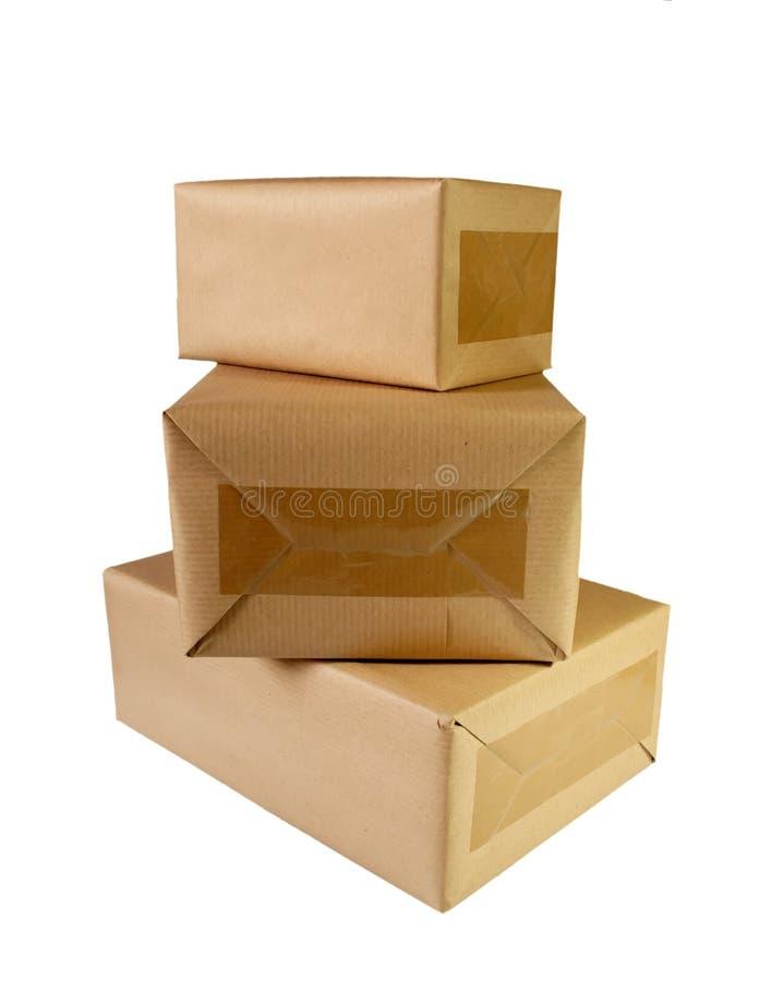коричневый цвет коробок стоковые фото