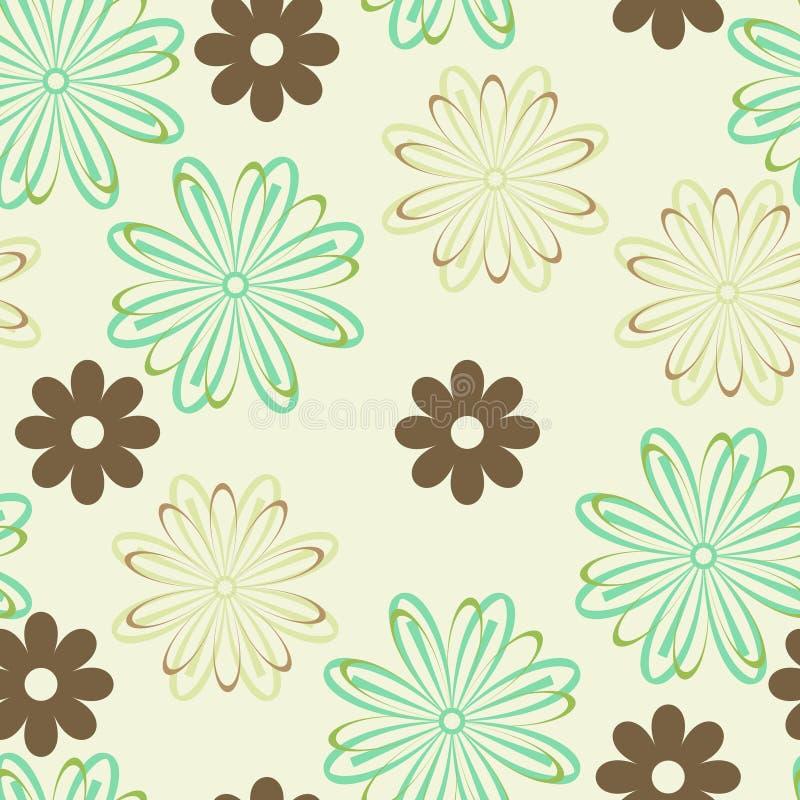 коричневый цвет цветет зеленый цвет иллюстрация вектора