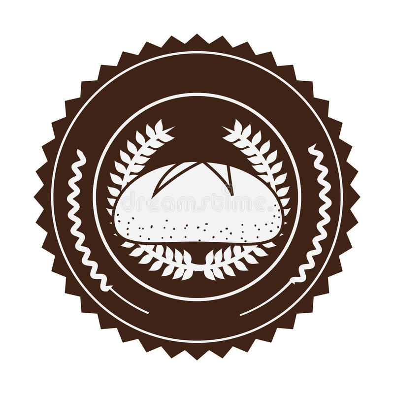 коричневый штемпель с прованской кроной и хлебом в декоративной круглой рамке бесплатная иллюстрация