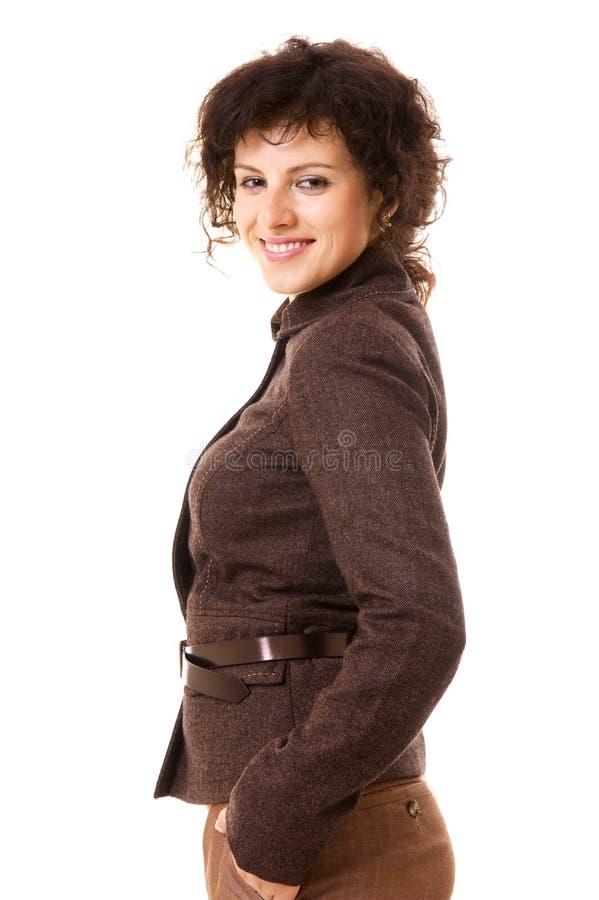 коричневый smiley куртки коммерсантки стоковое фото rf