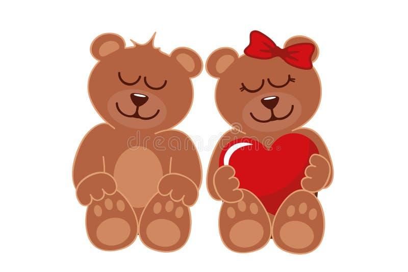2 коричневых плюшевого медвежонка мальчик и девушка иллюстрация вектора