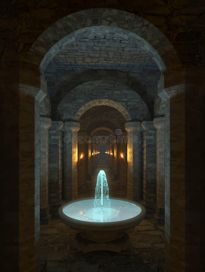 Коридор в подземелье иллюстрация штока