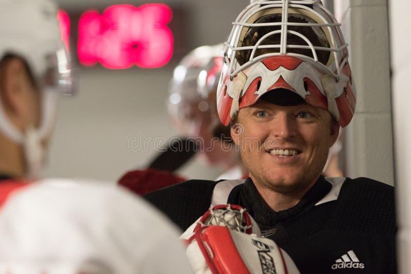 Кори Schneider дьяволов ` s Нью-Джерси NHL стоковая фотография