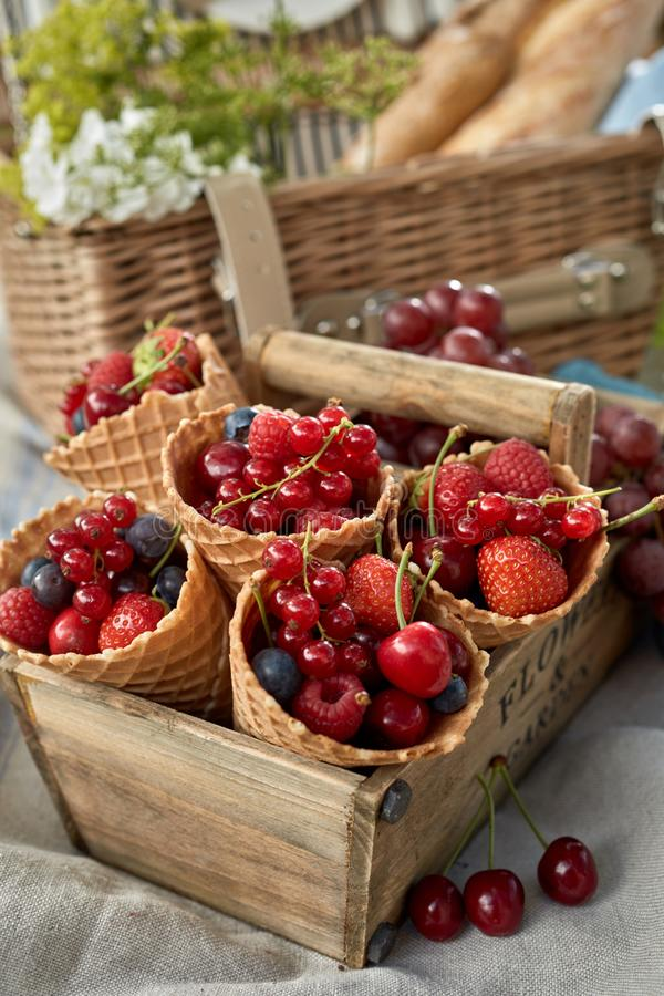 Корнеты мороженого заполненные с свежими ягодами стоковое фото