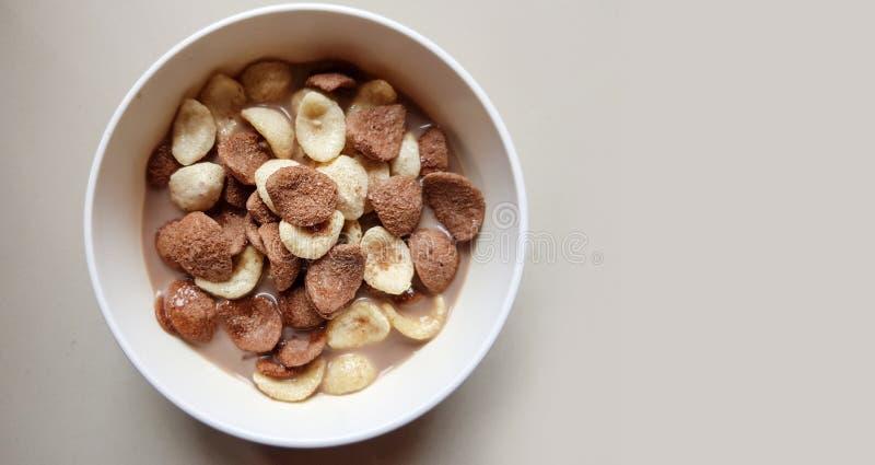 Корнфлексы ванили и шоколада окунули в шоколадном молоке в белом шаре в светлой предпосылке стоковое фото rf