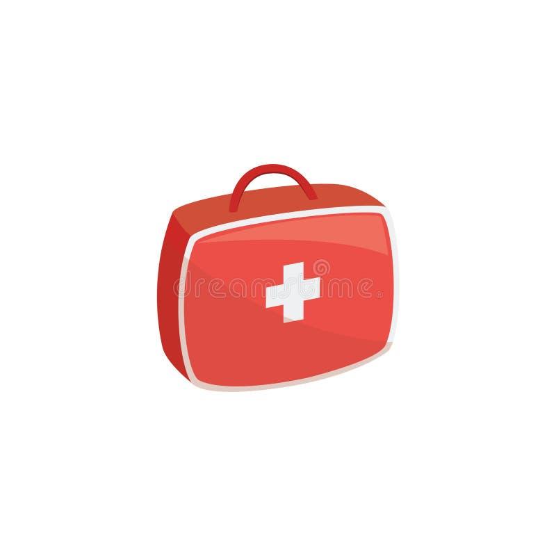 Коробка аварийной медицинской бортовой аптечки красная и белый перекрестный графический вектор значка бесплатная иллюстрация
