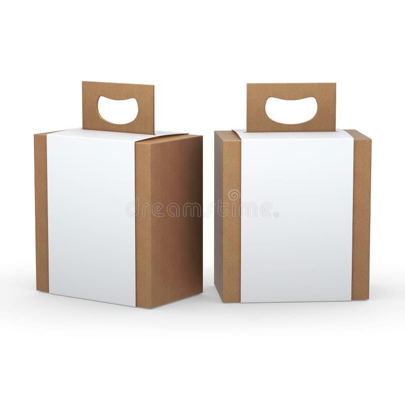 Коробка Брайна бумажная при белый обруч и ручка упаковывая, закрепляя PA иллюстрация вектора
