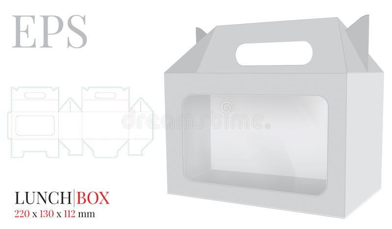 Коробка для завтрака с ручкой с шаблоном окна, вектором с отрезком плашки/лазером отрезала слои Иллюстрация коробки доставки иллюстрация штока