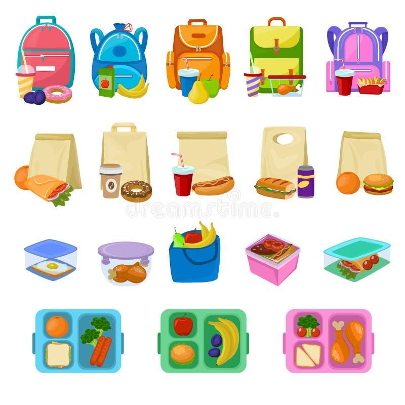 Коробка для завтрака школы вектора коробки для завтрака с здоровыми плодоовощами или овощами еды положила в коробку - в комплекте иллюстрация штока