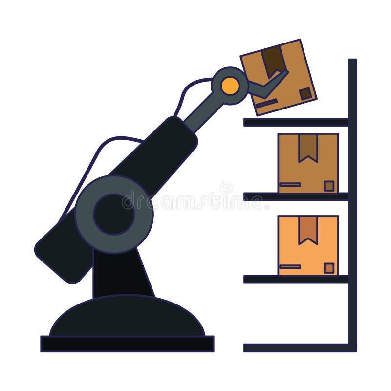 Коробка загрузки руки робота иллюстрация вектора