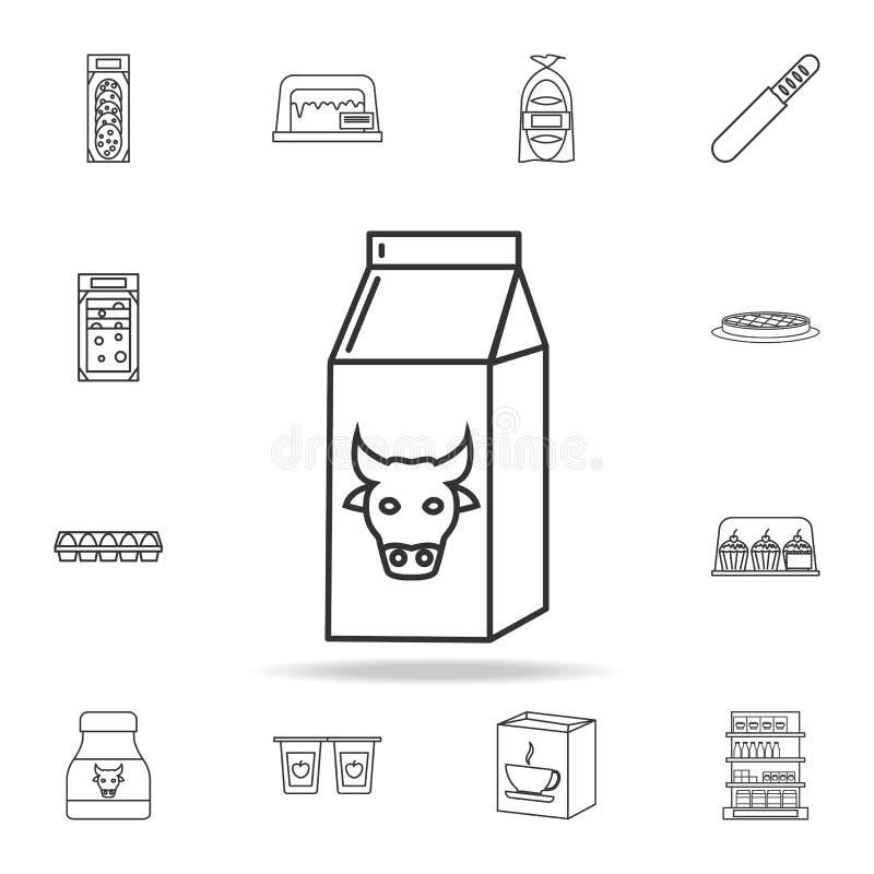 коробка значка молока Детальный комплект магазинов и значков гипермаркета Наградной качественный графический дизайн Один из значк иллюстрация вектора