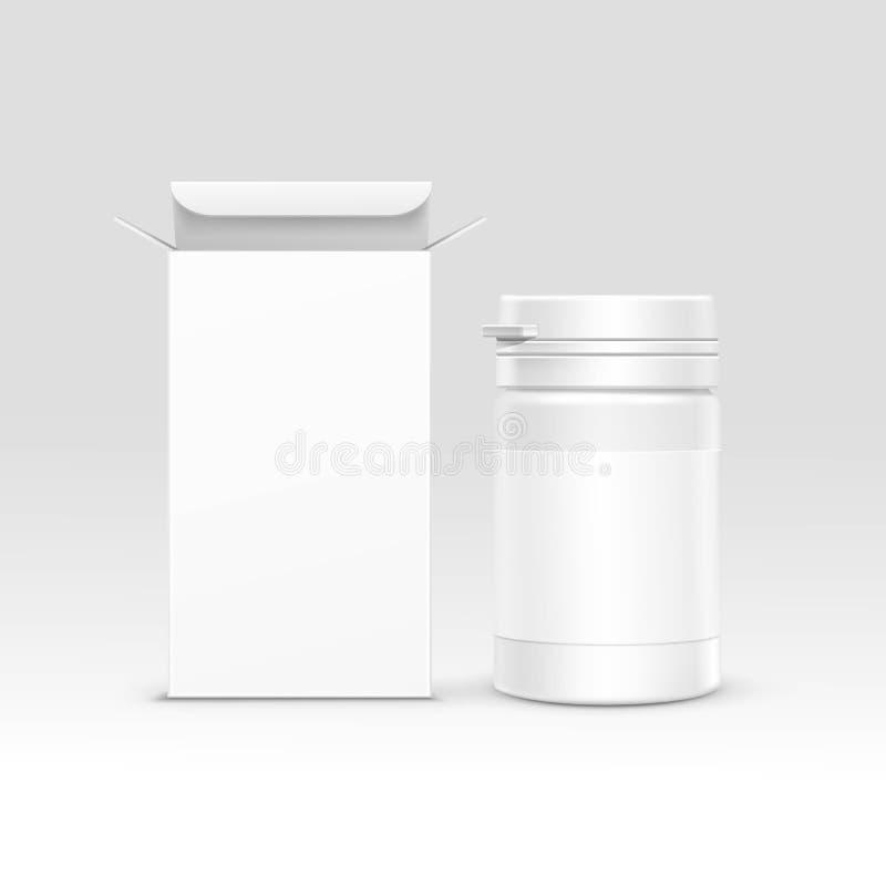 Коробка и бутылка вектора медицинские упаковывая иллюстрация вектора