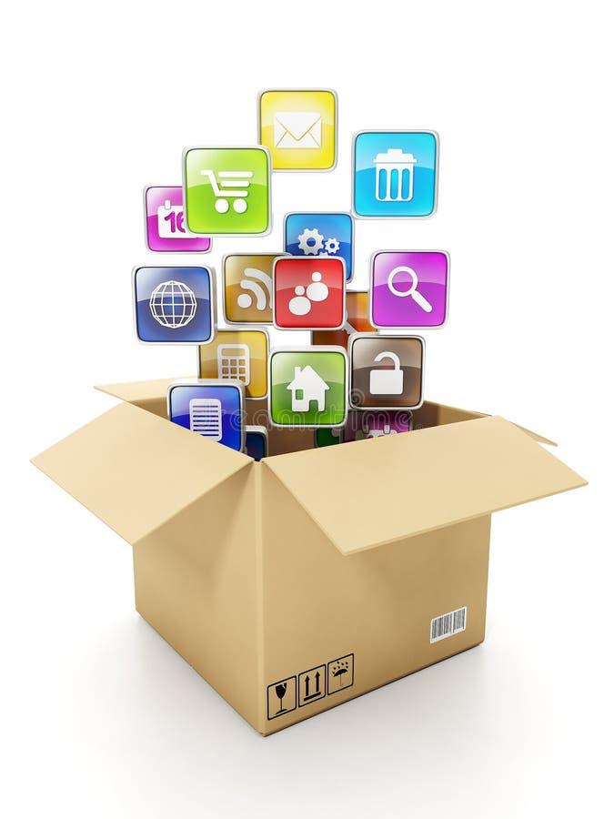 Коробка и передвижные иконы облака иллюстрация штока