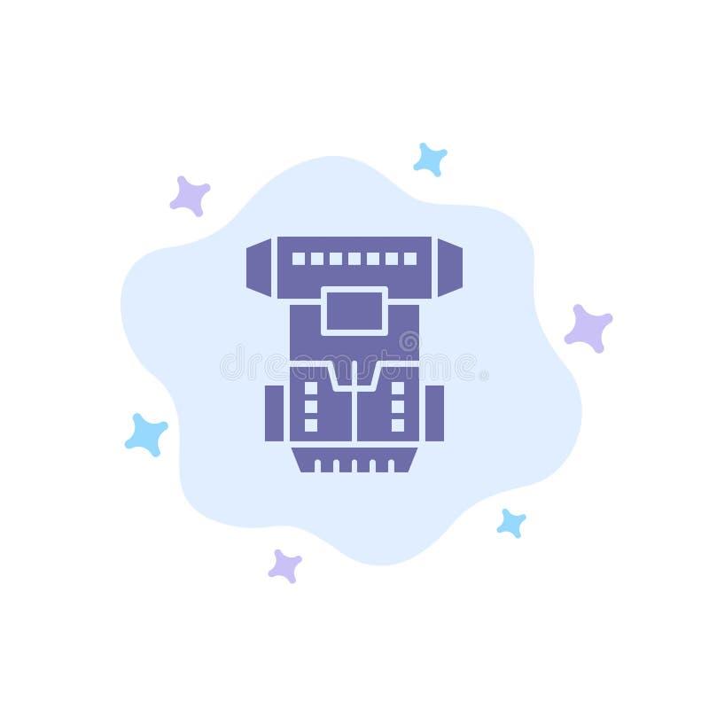 Коробка, камера, криогенная, Cryonics, значок Cryotherapy голубой на абстрактной предпосылке облака бесплатная иллюстрация