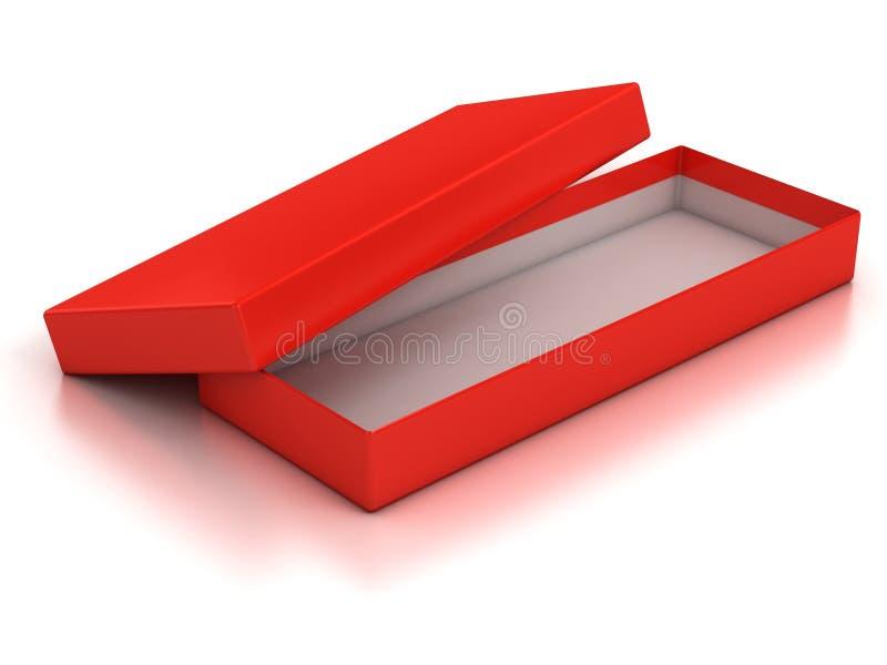 Коробка красного цвета открытая пустая иллюстрация вектора
