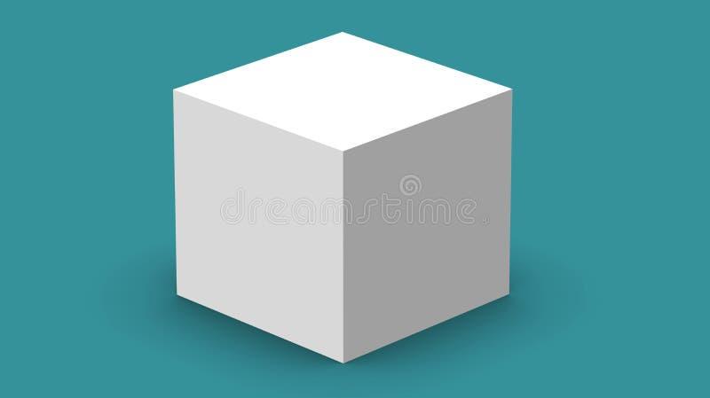 коробка куба 3d представить на изолированной предпосылке для модель-макета и шаблона комплексного конструирования продукта иллюстрация вектора