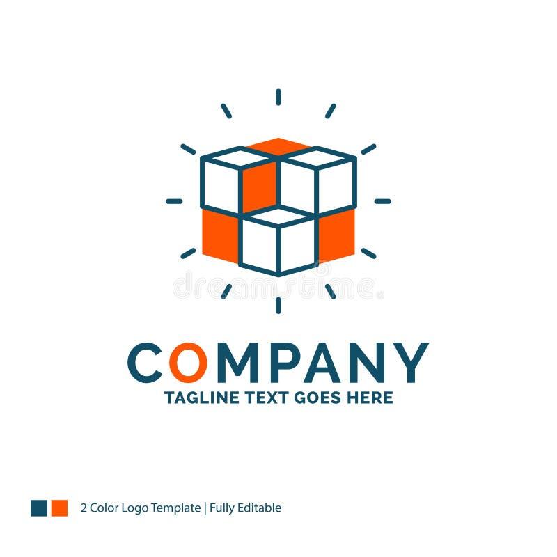 коробка, лабиринт, головоломка, решение, дизайн логотипа куба Синь и Ora иллюстрация вектора