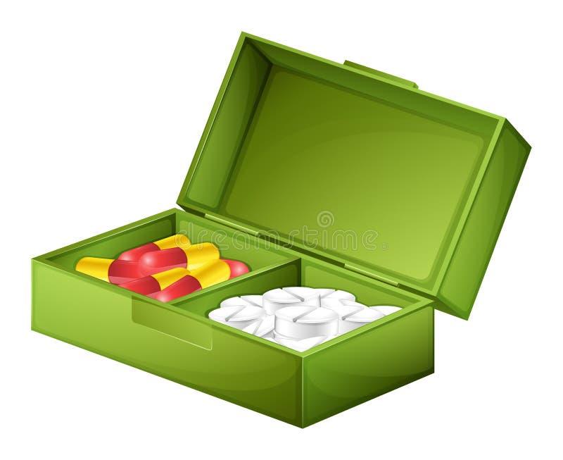 Коробка медицины с таблетками и капсулами иллюстрация вектора