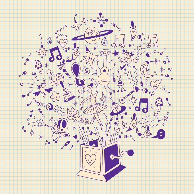 Коробка музыки - взрыв мюзикл иллюстрации шаржа творческих способностей и потехи иллюстрация штока