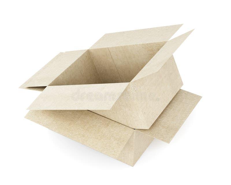 Коробка на коробке на белой предпосылке 3d кладет изображение в коробку произведенное картоном 3d ren иллюстрация вектора