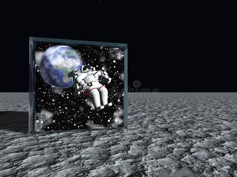 Коробка на лунном как поверхность содержит астронавта иллюстрация вектора