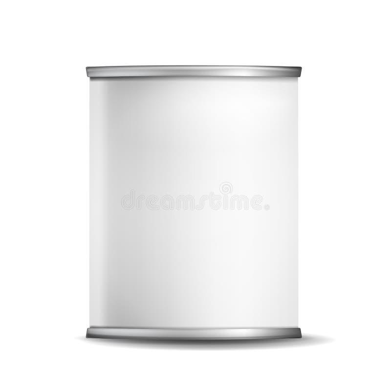 Коробка олова металла может Vector реалистический пустой упаковывая контейнер 3d иллюстрация штока