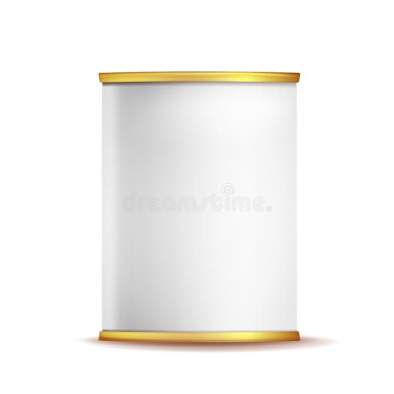 Коробка олова может вектор шаблона реалистический пустой упаковывая пробел контейнера 3d Пищевой контейнер белизна изолированная  иллюстрация вектора