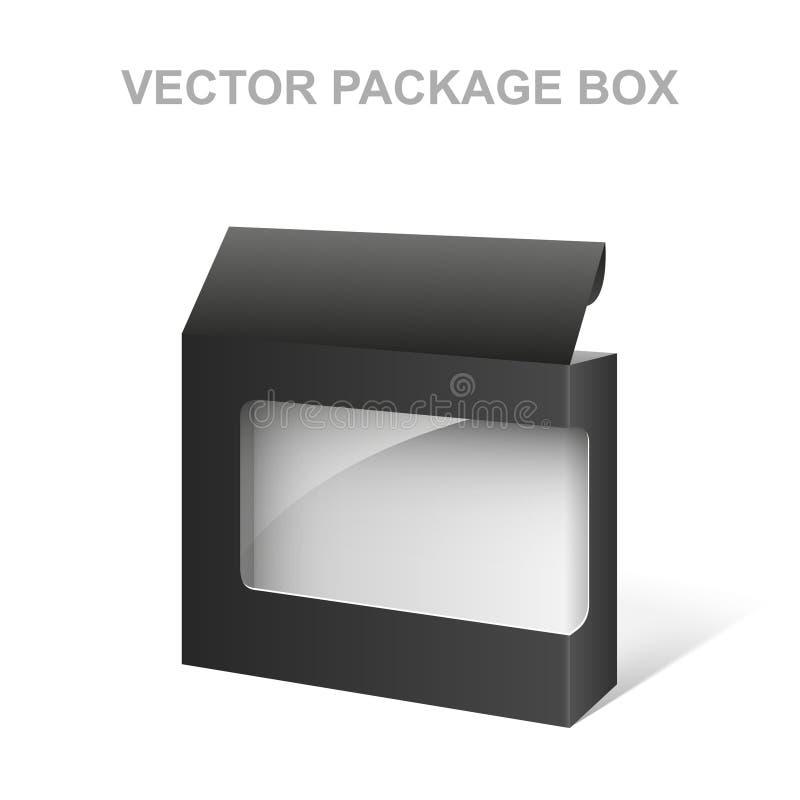 Коробка пакета продукта вектора черная, прозрачная, белая внутренность бесплатная иллюстрация