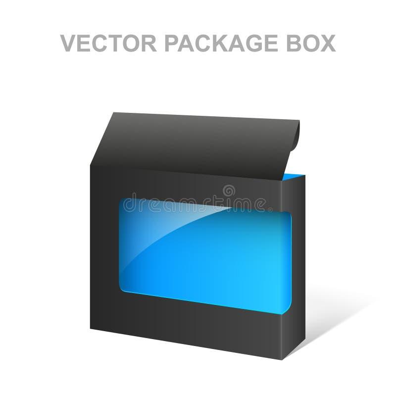 Коробка пакета продукта вектора черная, прозрачная, голубая внутренность бесплатная иллюстрация