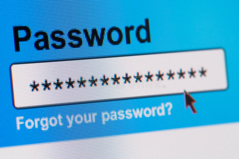Коробка пароля в интернет-браузере стоковая фотография rf