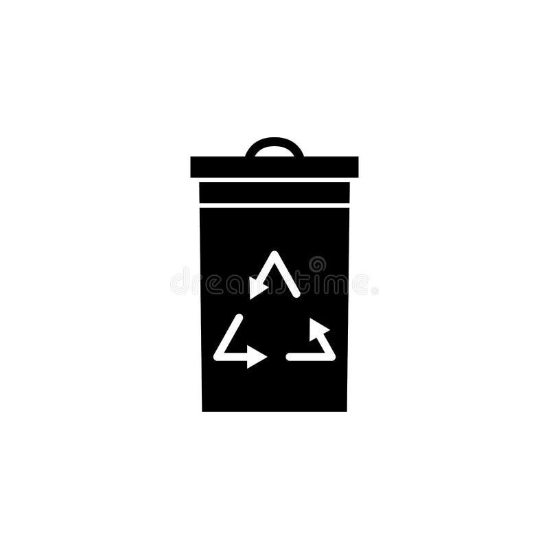 Коробка погани, повторно использует значок на белой предпосылке Смогите быть использовано для сети, логотипа, мобильного приложен иллюстрация штока