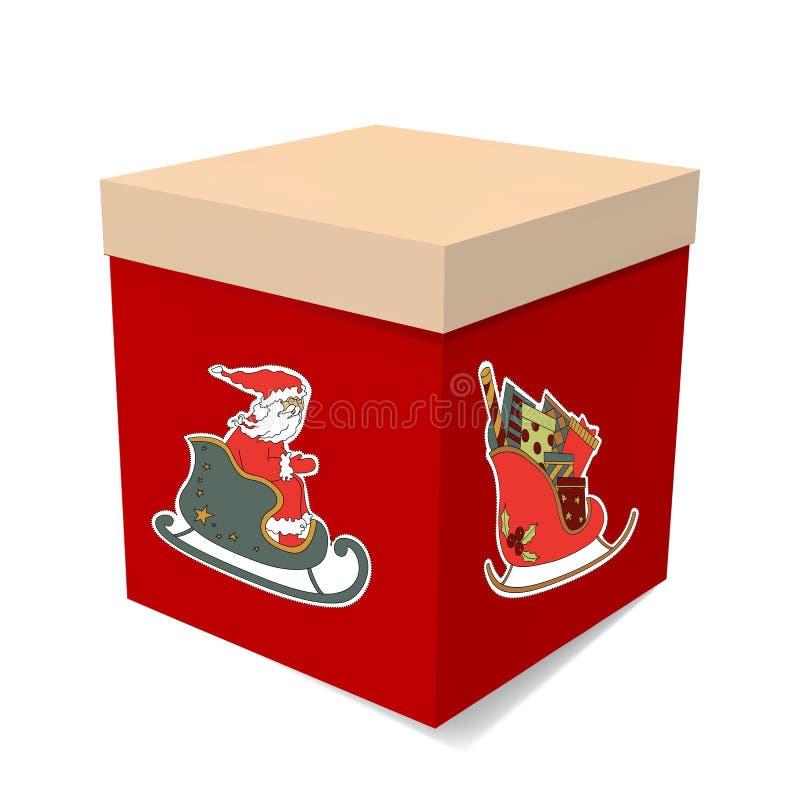 Коробка подарка рождества Сани сюрприза ` s Санты изображения иллюстрация штока