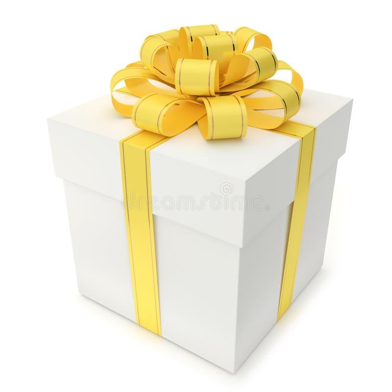 Коробка подарка с желтыми тесемкой и смычком иллюстрация штока