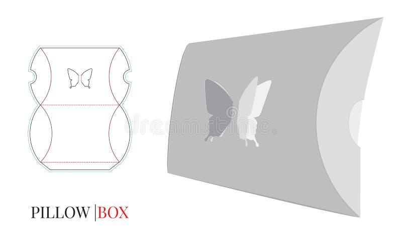 Коробка подушки, коробка подушки бабочки Вектор с отрезком плашки/лазером отрезал слои иллюстрация вектора
