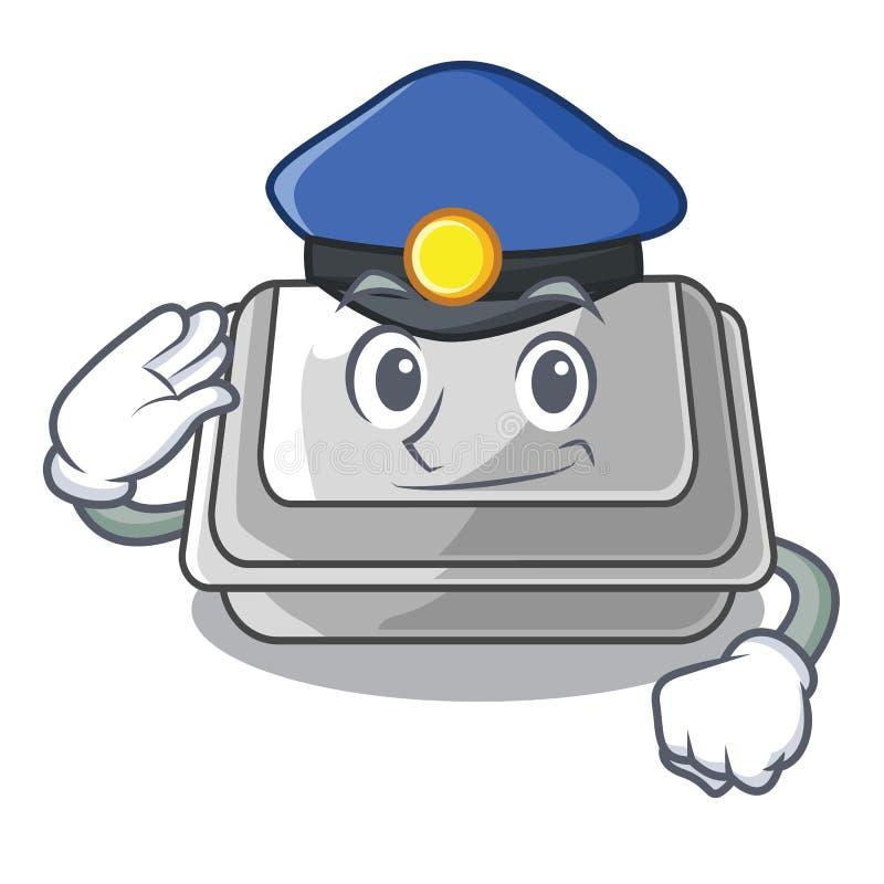 Коробка полиции пластиковая изолированная в мультфильме бесплатная иллюстрация