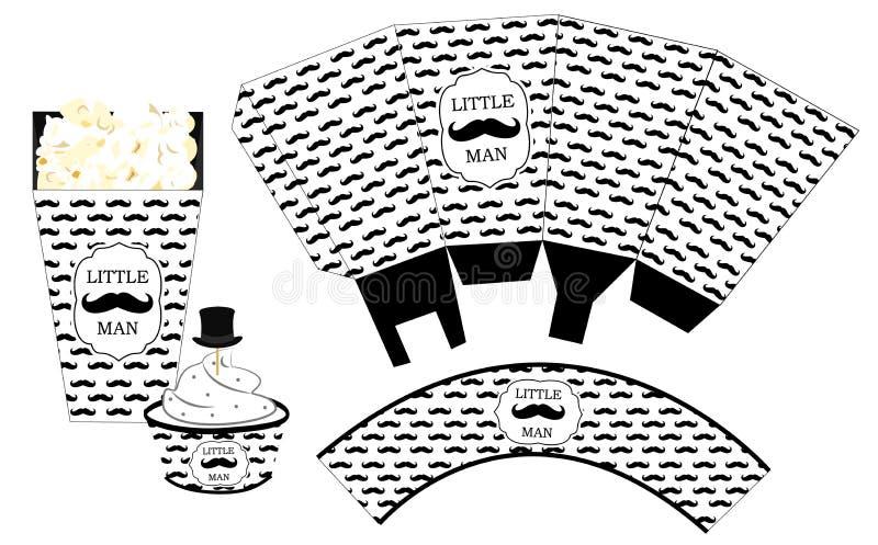 Коробка попкорна бумажная Оболочка пирожного Printable шаблон для маленькой партии мальчика ливня ` s человека birthdaybaby иллюстрация штока