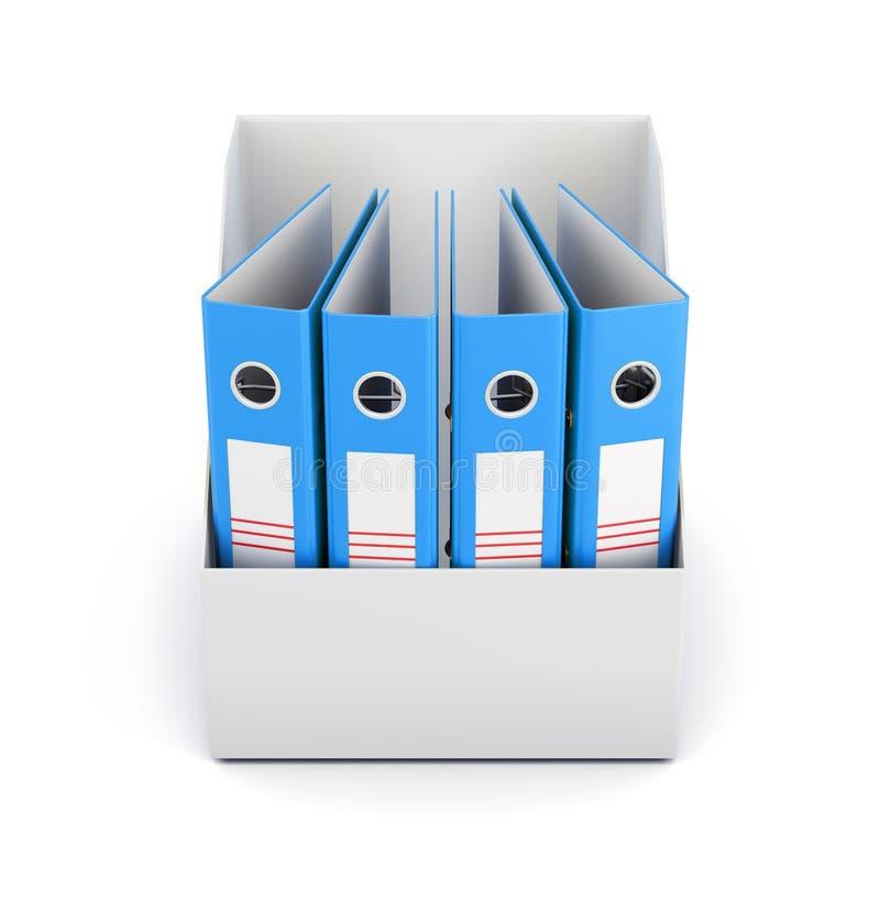 Коробка при папки изолированные на белой предпосылке Взгляд сверху 3d разрывают иллюстрация штока