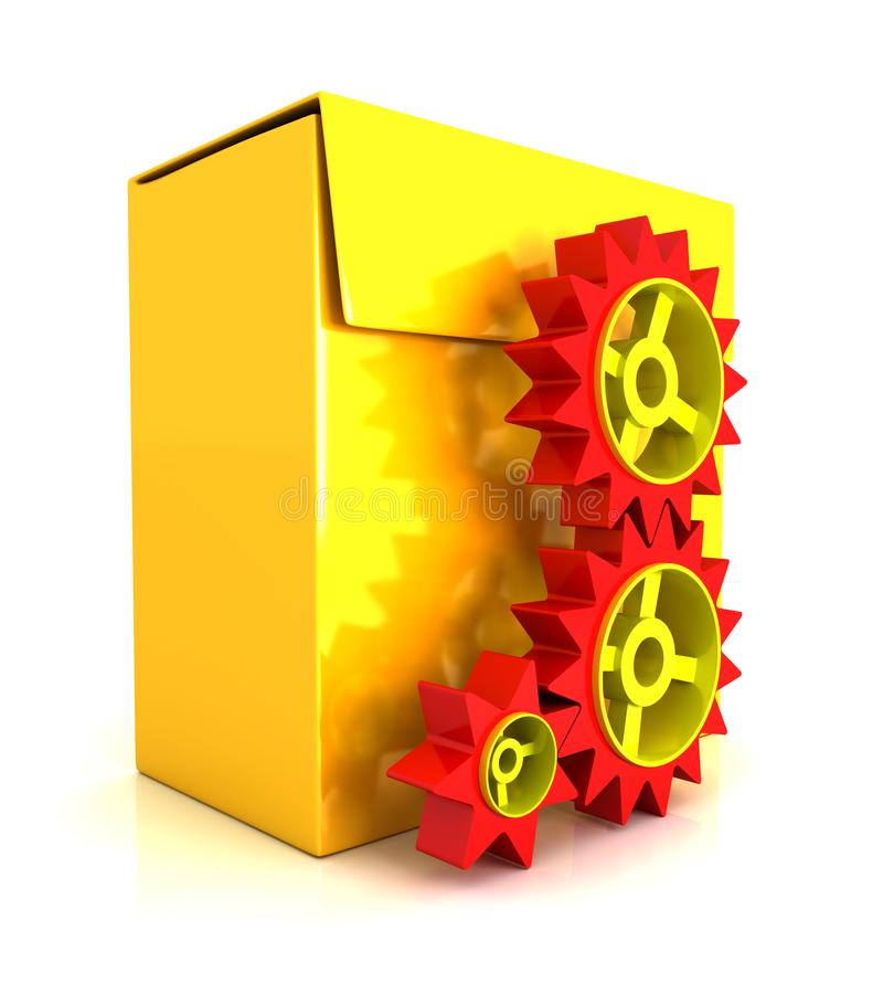 коробка программного обеспечения 3d - шестерня иллюстрация штока