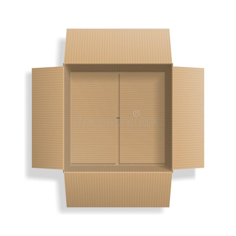 Коробка реалистического картона открытая, взгляд сверху иллюстрация вектора