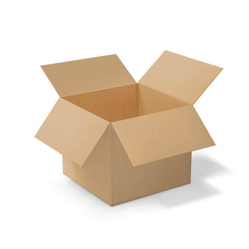 Коробка реалистического картона открытая, взгляд со стороны иллюстрация штока
