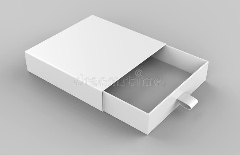 Коробка реалистического картона пакета сползая на серой предпосылке Для малых деталей, спичек, и других вещей иллюстрация 3d пред бесплатная иллюстрация