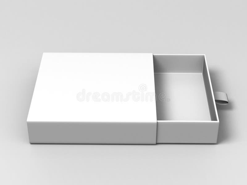 Коробка реалистического квадратного картона пробела пакета белого сползая на серой предпосылке Для малых деталей, спичек, и други бесплатная иллюстрация