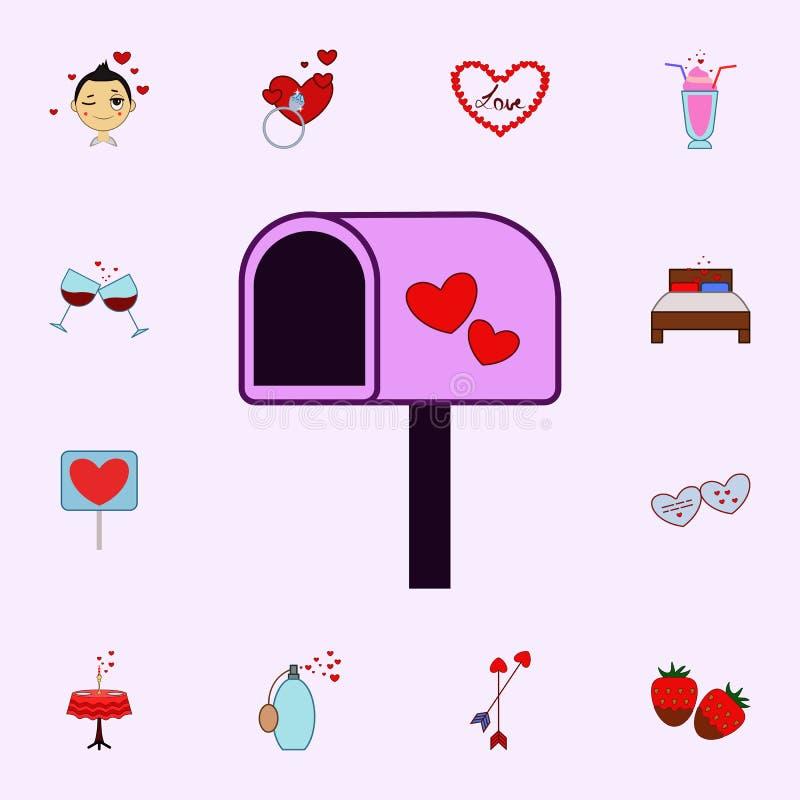 Коробка столба, сердце, значок дня Валентайн s Полюбите комплект значков всеобщий для сети и черни бесплатная иллюстрация