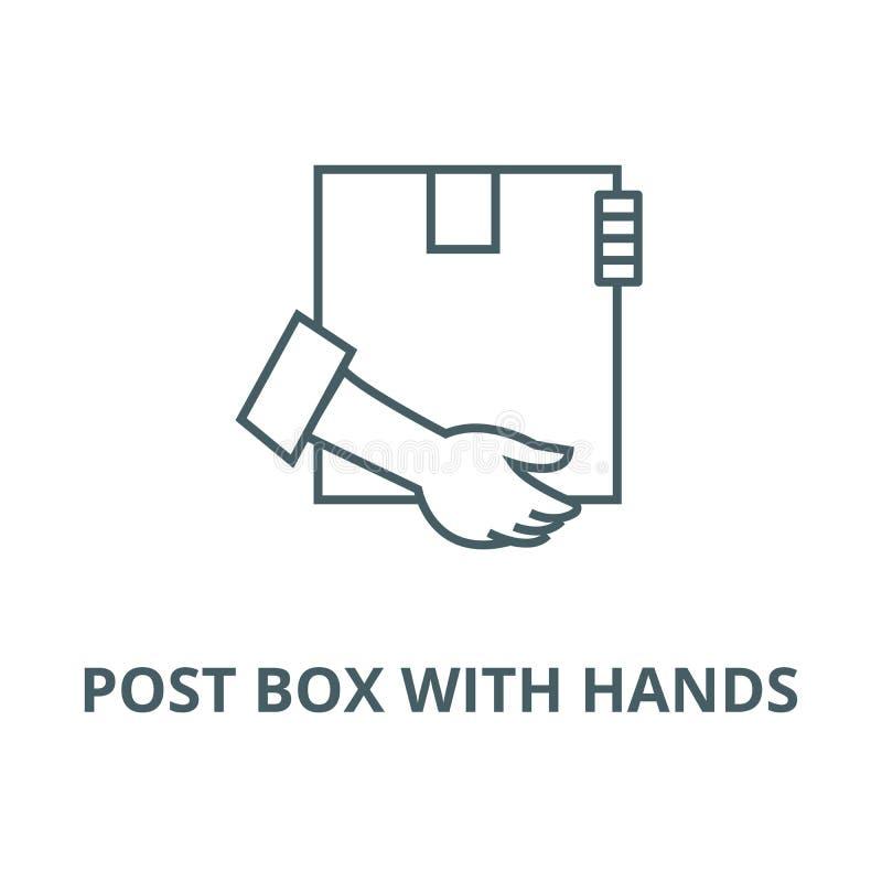 Коробка столба с линией значком вектора рук, линейной концепцией, знаком плана, символом бесплатная иллюстрация